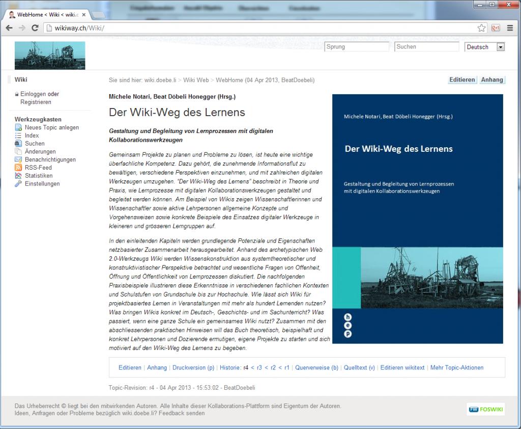 Abbildung 1: Eine Wiki-Seite im Ansichtsmodus (http://wikiway.ch)