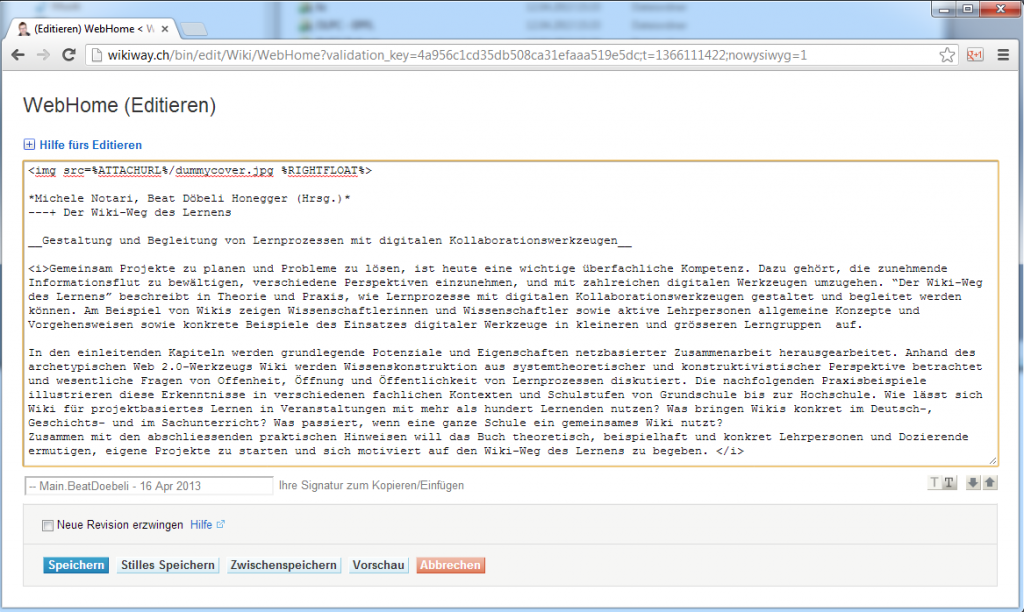 Eine Wiki-Seite im Text-Bearbeitungsmodus (http://wikiway.ch)