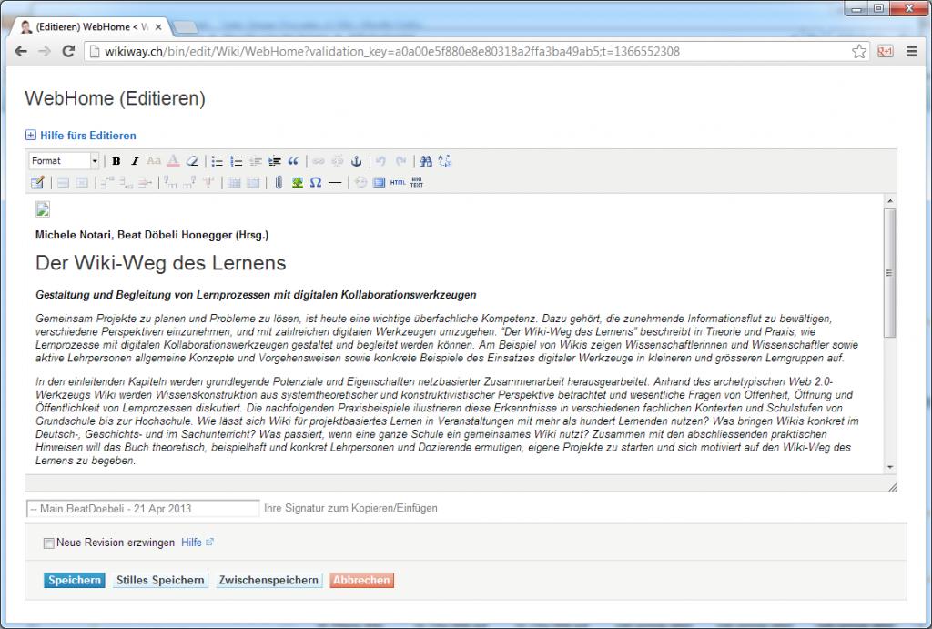 Abbildung 3: Eine Wiki-Seite im grafischen Bearbeitungsmodus (WYSIWYG)