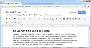 Abbildung 5: Bearbeitungsmodus eines wikiähnlichen Werkzeugs (Google Docs)