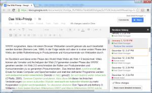 Abbildung 7: Versionsverwaltung in einem wikiähnlichen Werkzeug (Google Docs)