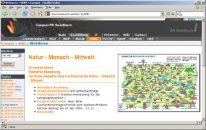 Abbildung 1: Startseite des Grundstudiummoduls Natur – Mensch – Mitwelt (Döbeli Honegger, 2005, Abbildung 2).