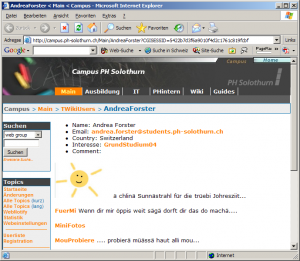 Abbildung 2: Persönliche Homepage einer Studentin mit Links auf ihr Gästebuch, ihre Fotogalerie und weitere Wiki-Experimente (Döbeli Honegger, 2005, Abbildung 4).